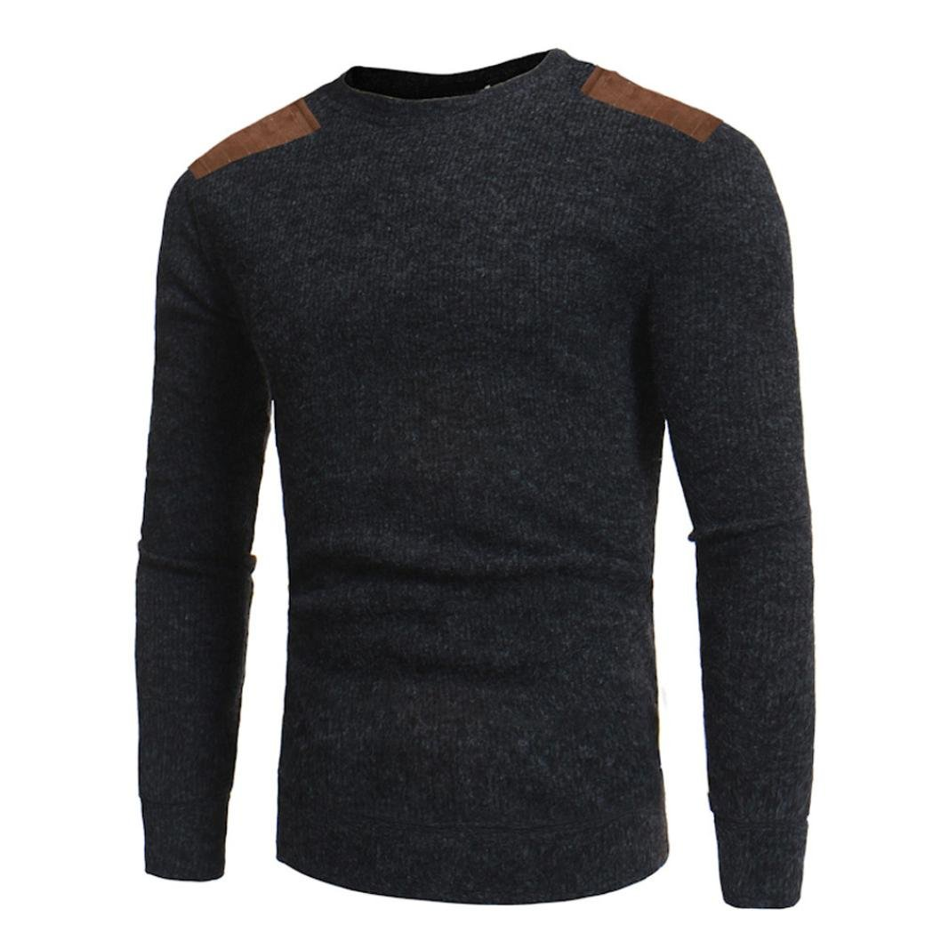 70c3ac18ac8a9  Material Cotton Blend- Man s Fashion Casual Round Neck Patchwork Men s  Sweaters Tops Blouse sweater men casual casual cardigan sweater for men  casual ...