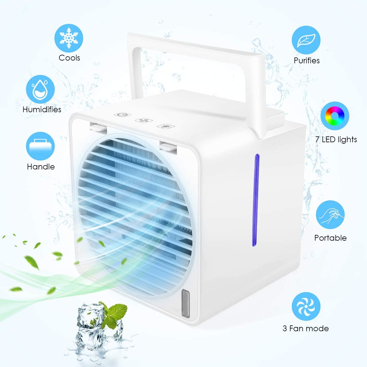 Portable Air Conditioner, Personal Air Cooler - 4 in 1 Mini USB Personal Evaporative Cooler, Purifier, Sterilizer, Humidifier, 3 Speed Desktop Cooling Fan with 7 Colors LED Light for Home Room Office