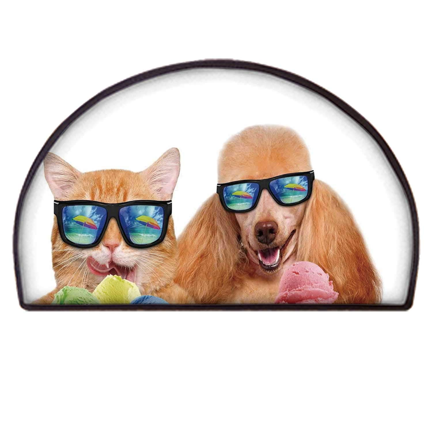 C COABALLA Animal Non Slip Semicircle Mat,Cat Dog Pet with Sunglasses Eating Ice Cream Retro Cool Vintage Pop Artwork Image for Indoor,90 x 180cm / 35.43 x 70.86 inch by C COABALLA