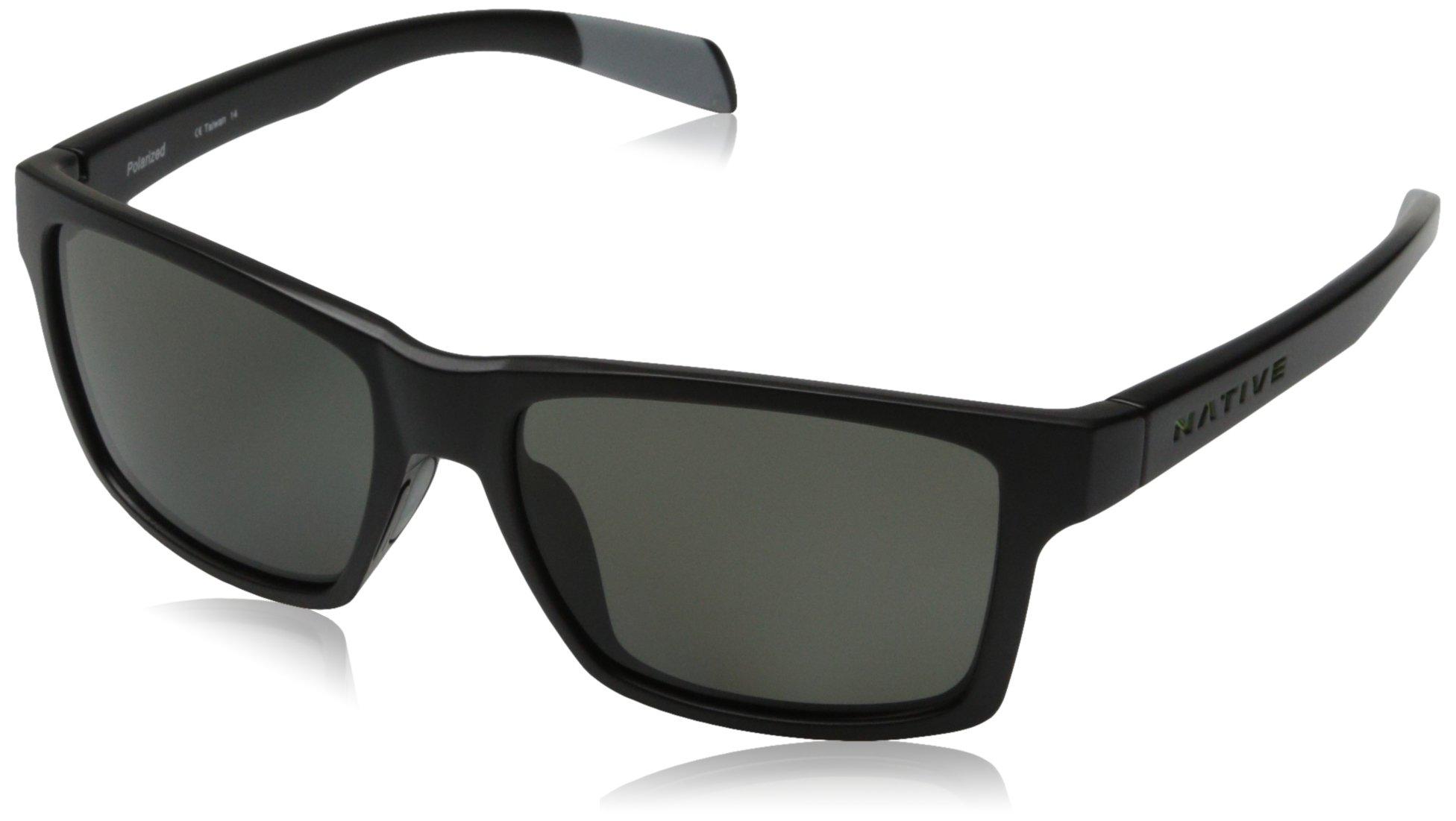 Native Eyewear Flatirons Polarized Sunglasses,Matte Black Frame, Gray Lens