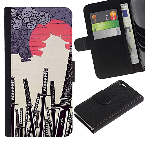 OREGON-X Terrific Front Picture Leather Card Slots Pouch Wallet Protection Hard Case Black Cover For Apple Iphone 5 5S - JAPANESE SAMURAI KATANA (Katana Bling)