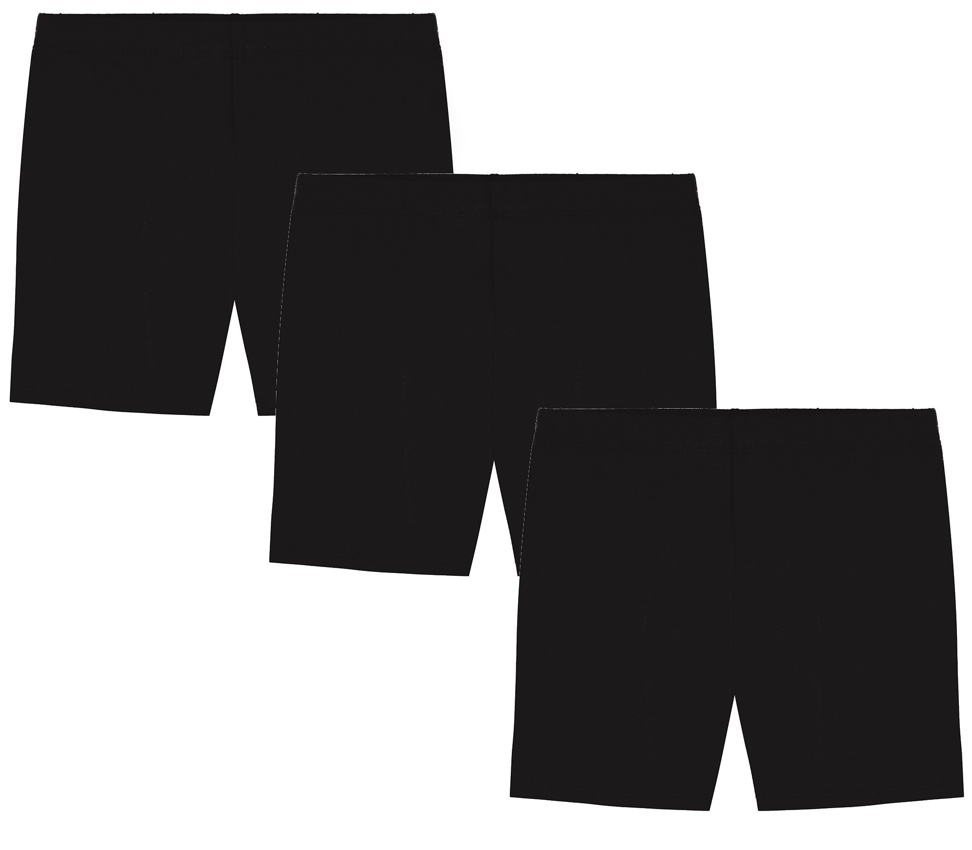 My Way Girls' Value Pack Solid Cotton Bike Shorts - All Black - 6