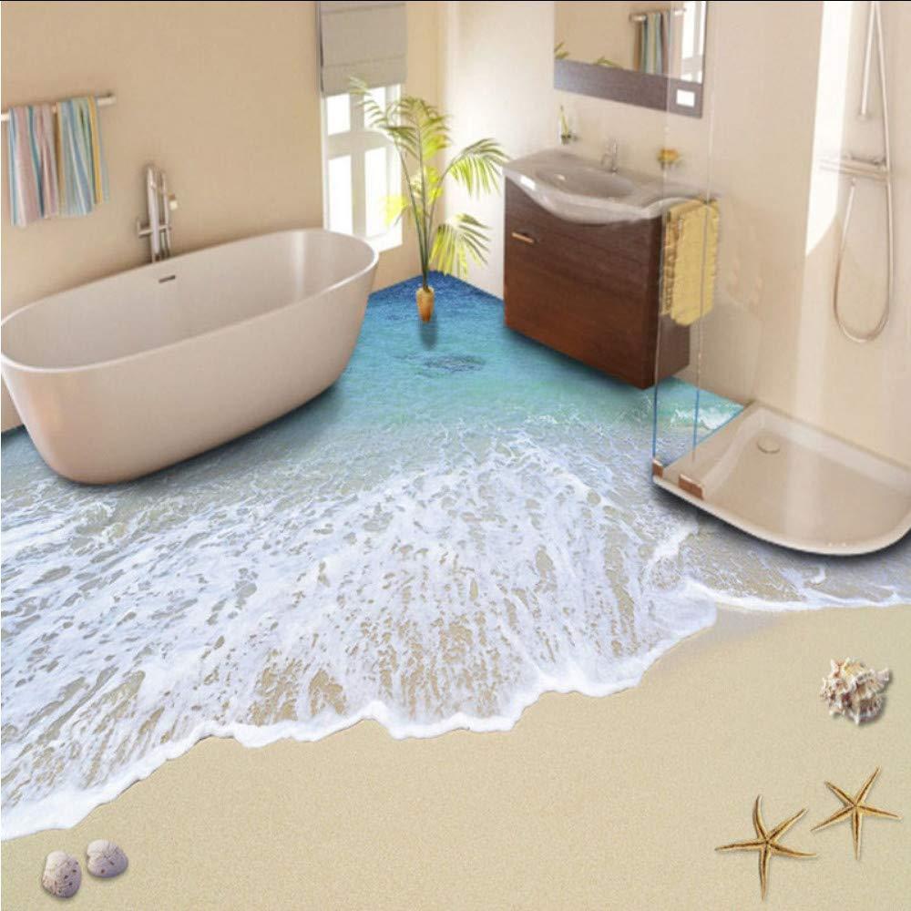 400x280cm (zxfcccky) Benutzerdefinierte 3D Boden Malerei Tapete Strand Wellen Boden Aufkleber PVC selbstklebende Abnutzung rutschfeste wasserdichte verdickte Boden Wandbilder