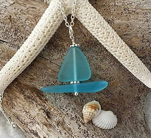 - Handmade in Hawaii, blue sailboat sea glass necklace, sterling silver chain, FREE gift wrap, FREE gift message, FREE shipping