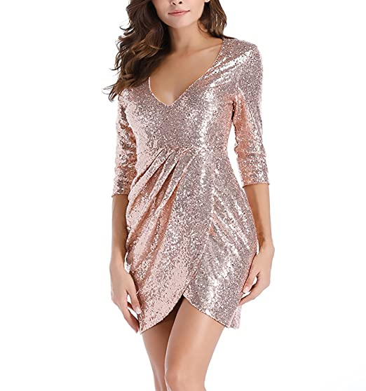 5baeaacce22b HX fashion Donna Abito da Sposa Estive Corti Paillettes Elegante Vestiti da  Cerimonia Irregolare Spacco Abiti