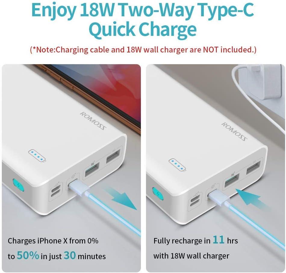 para Smartphones Tabletas y M/ás Type C, L i g h t i n g, Micro USB Romoss Bater/ía Externa 26800mAh 18W Power Bank Ultra Capacidad Carga R/ápida Cargador Movil Port/átil con 2 Puertos USB y 3 Entradas