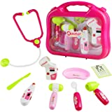 yoptote Doctor Kit Pretend Play Girls Toys Medical Case Role Play Sets Gift for Kids Girls 3 Years Old and Up,Pink