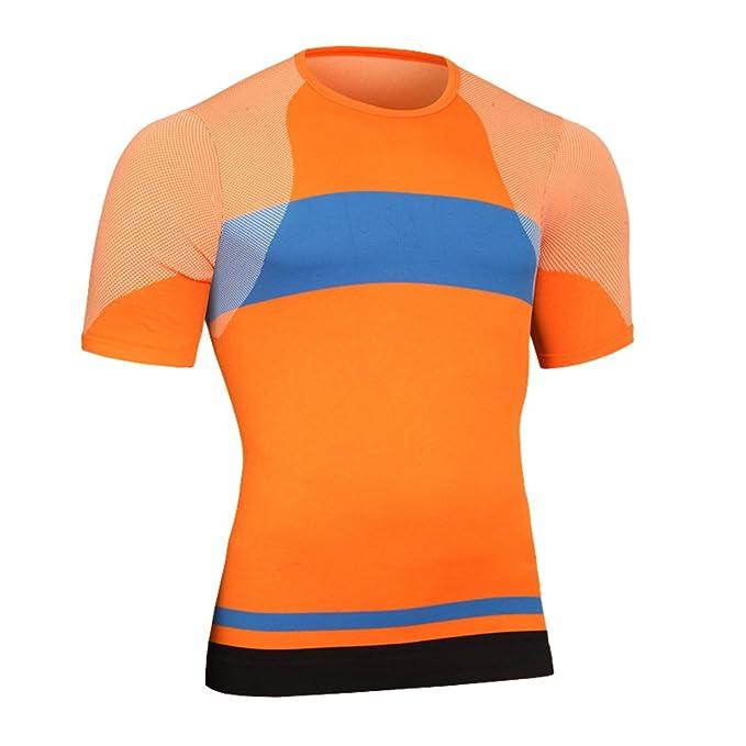 Yiiquan Hombre Los Colores Mezclados Camisetas Deportivas para Camiseta de Running Secado Rápido para Fitness Gym