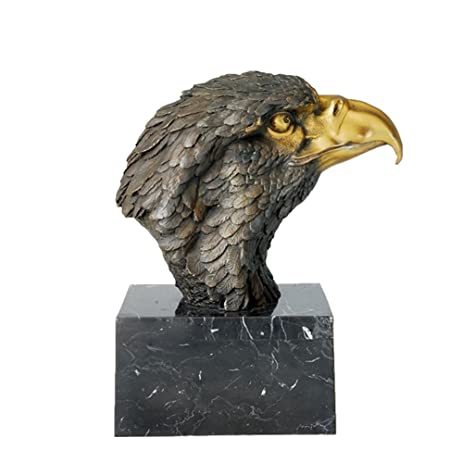 Toperkin Bronze Statues Animal Bust Eagle Head Sculpture Large Size Garden  Statue TPAL 017