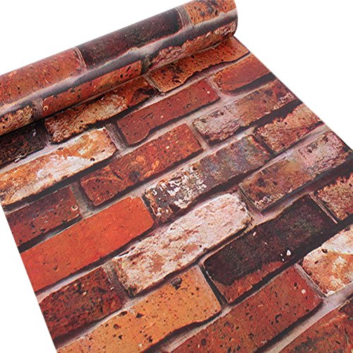 Cheap  Brick Wallpaper Faux Smooth Rust Red Brick Peel And Stick Wall Paper..