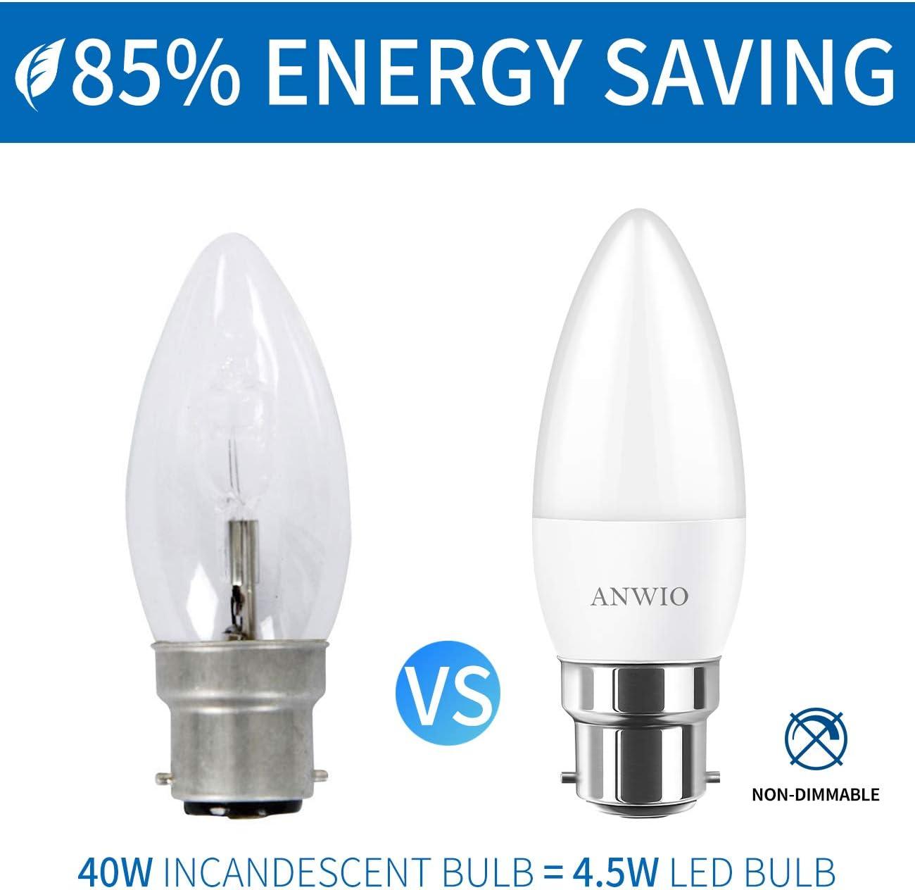 Non-dimmable 470Lumen 2700K Blanc Chaud ANWIO Lot de 6 4.5W Ampoule LED Bougie B22 Equivalent Ampoule Halog/ène 40W Baionnette