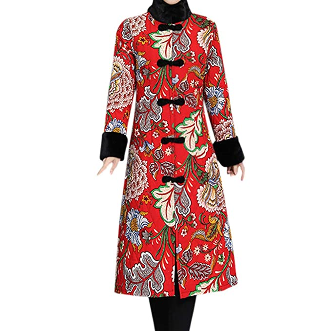 d148773b963 CATSAP Women Folk-Custom Floral Vintage Long Jacket Long Trench Pea Coat  Cardigan Outwear (
