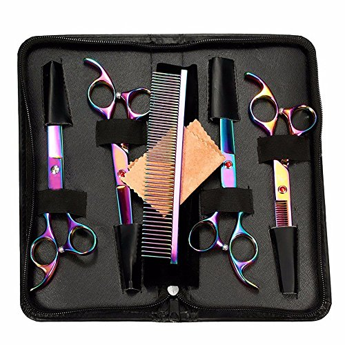 "StarForest 7"" Professional Pet Dog Cat Puppy Grooming Scissors Set Cutting Curved Thinning Shears Comb Trimmer Hair Cutting Tool, Rainbow Color"