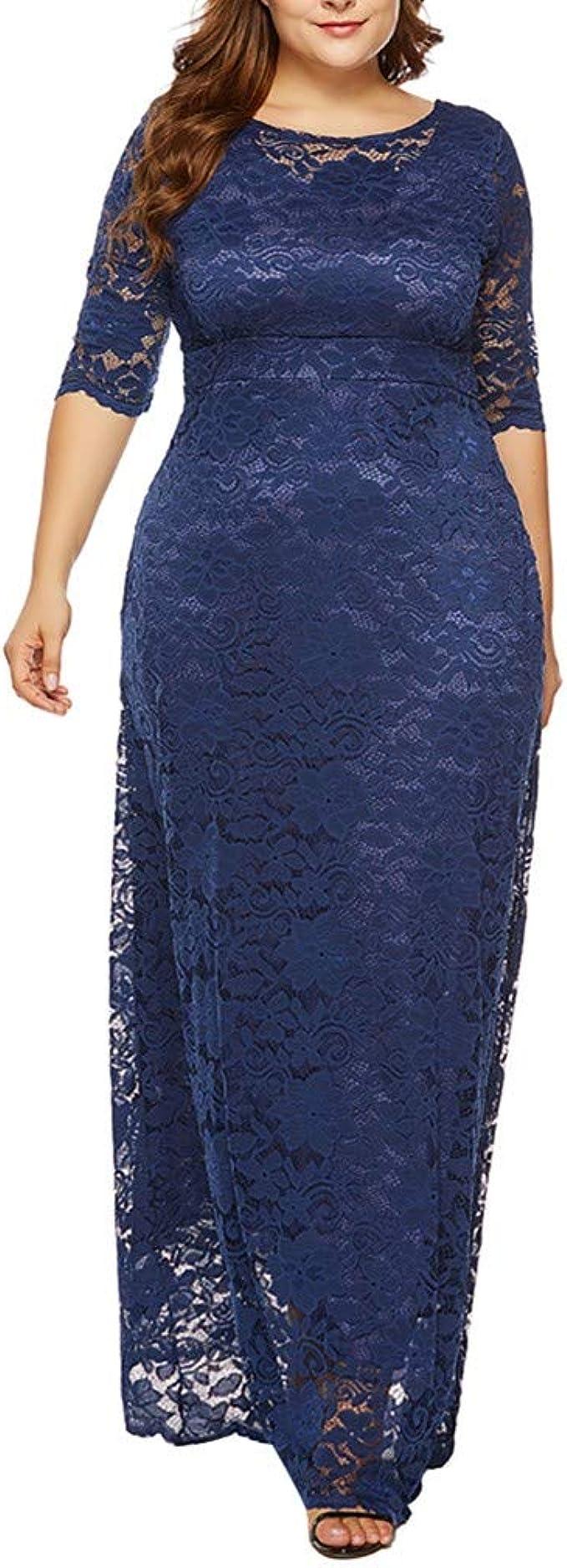 Damen Elegant Spitzenkleid Übergröße,Damen Vintage 8er Swing