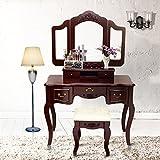 Blongang Vanity Makeup Table Set Tri-folding Mirror Vanity Set with Stool 5 Drawers Bedroom Vanity Makeup Dressing Table (Brown)