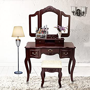 Blongang Vanity Makeup Table Set Tri Folding Mirror Vanity Set With Stool 5  Drawers Bedroom