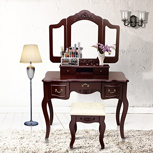 Blongang Vanity Makeup Table Set Tri-folding Mirror Vanity Set with Stool 5 Drawers Bedroom Vanity Makeup Dressing Table