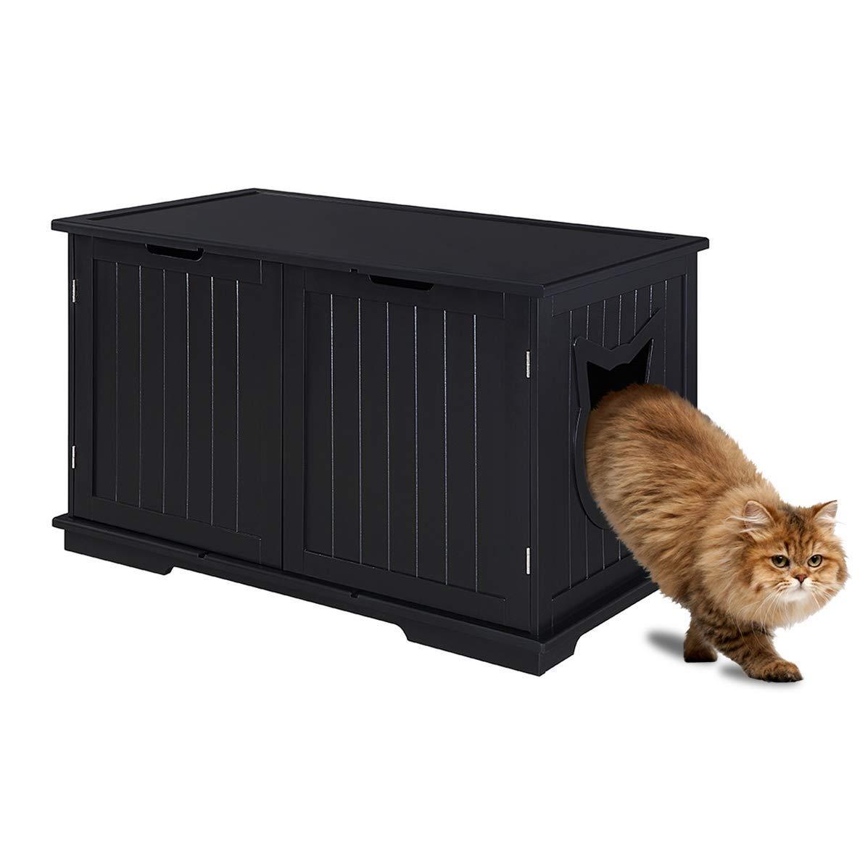 Sweet Barks Designer Cat Washroom Storage Bench Cat Litter Box Enclosure Furniture Box House with Table (Black) by Sweet Barks