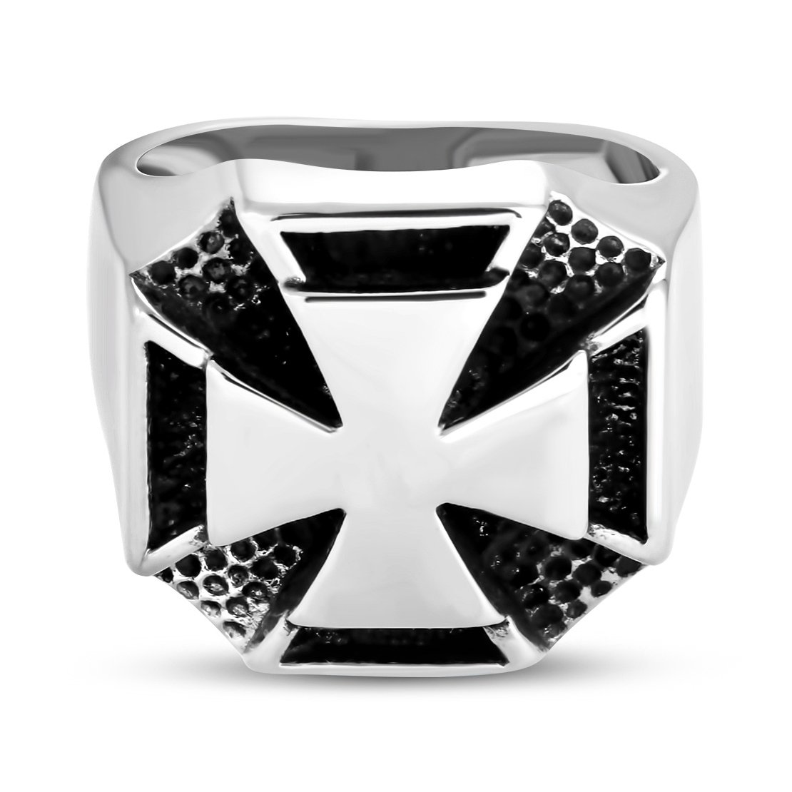 Stainless Steel 2 Color Concentric Pattee Cross Biker Ring
