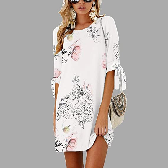 SMALLE Women Summer Bow O-Neck Half Sleeve Bow Bandage Floral Striaght Casual Short Mini Dress at Amazon Womens Clothing store: