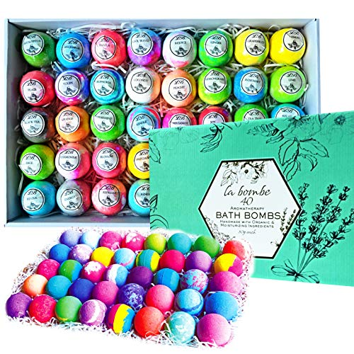 La Bombe Bulk Bath Bomb Gift Set - 40 Bath Bombs for Kids, Women & Men! Ultra Lush Bath Bombs Perfect Gift Set for Women!