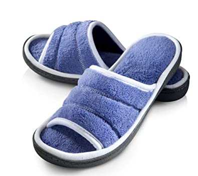 eb346fa83 Roxoni Open Toe Slide Slippers for Women; Ideal Terry Cloth House Shoe for  Indoor and