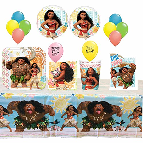 Disney Moana Birthday Party Tableware and Balloons Set