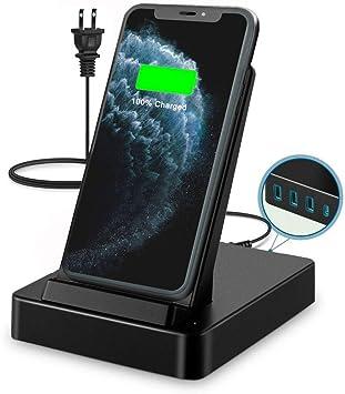 Huawei Mate 20//Mate 30 Samsung Galaxy Note 10//S10 Cargador inal/ámbrico de 15W Compatible con iPhone 11//Pro//MAX//XR//XS//X LADUO Estaciones de Carga inal/ámbrica,50W con 3 USB-A /& USB-C