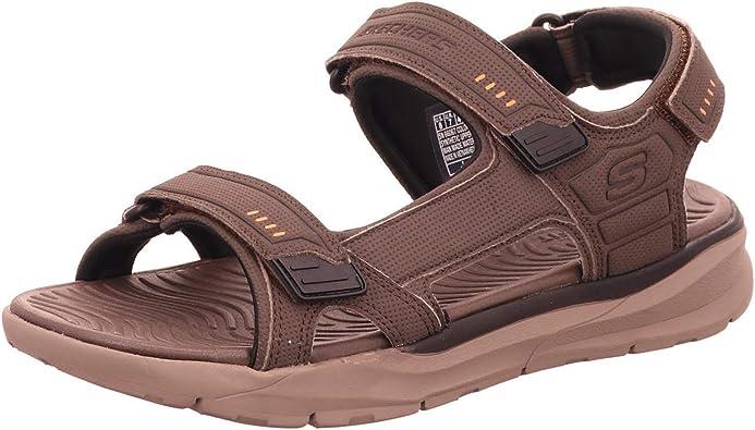Skechers Mens RELONE SENCO Brown Adjustable Beach Walking Sandals 66067BRN UK 8 (EU 42)