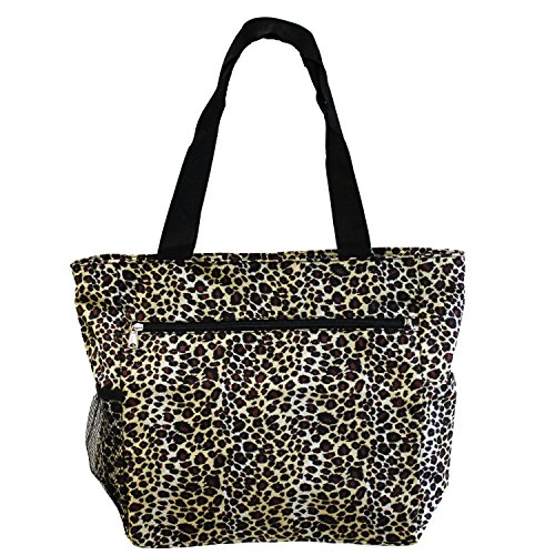 Leopard Print Tote - World Traveler 13.5 Inch Beach Bag, Leopard, One Size