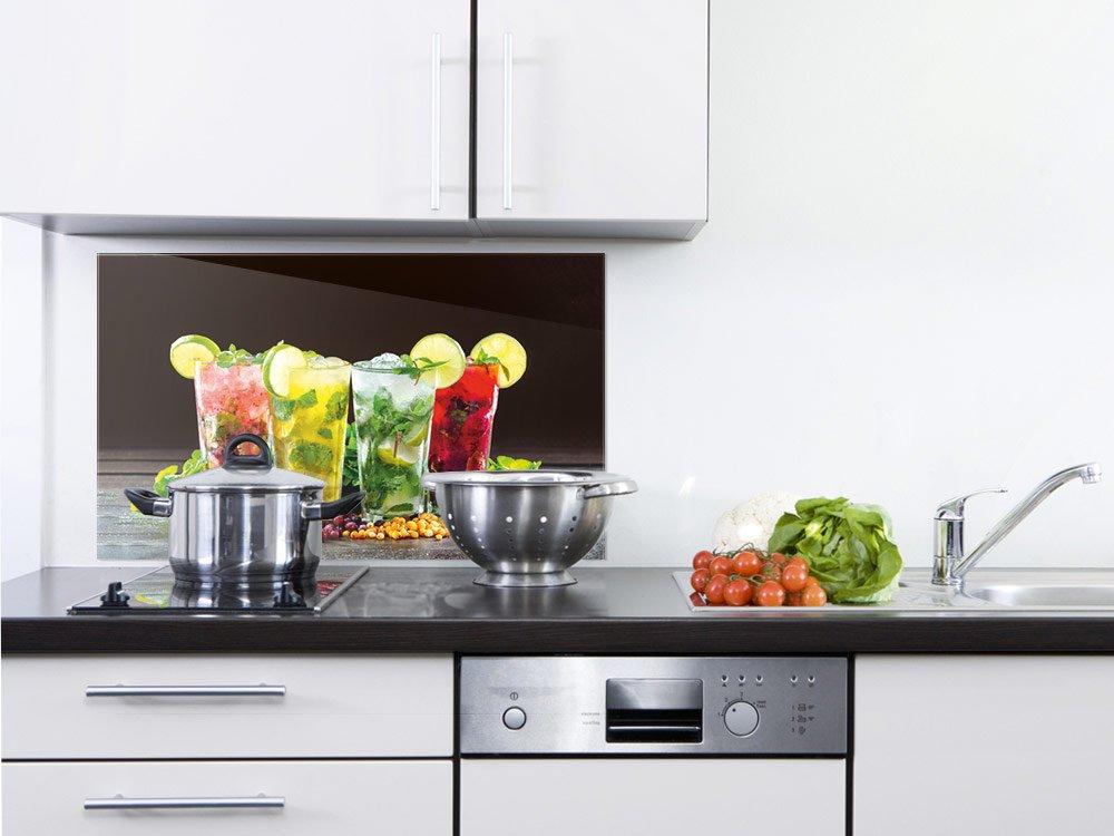 GRAZDesign 200168_60x40_SP Küchenrückwand Herd | Spritzschutz aus Echtglas | Bild-Motiv unterschiedliche Cocktails | Glasbild für Küche (60x40cm)