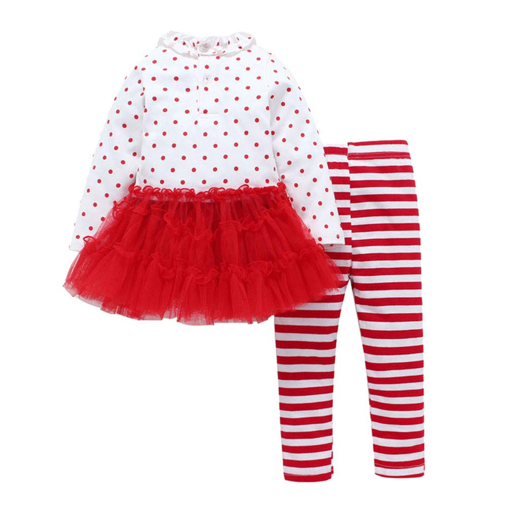 Anglewolf 2PC Tree Print Tops+Striped Pants Baby Clothes Newborn Kids Girl Boy Infant Toddler Clothes Long Sleeve Bowknot Party Princess Dresses 0-4 Year