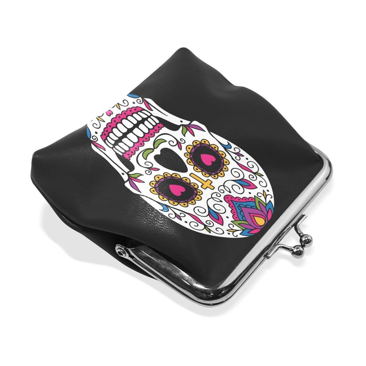 Women Wallet Purse Art Mexican Sugar Skull Clutch Bag Leather