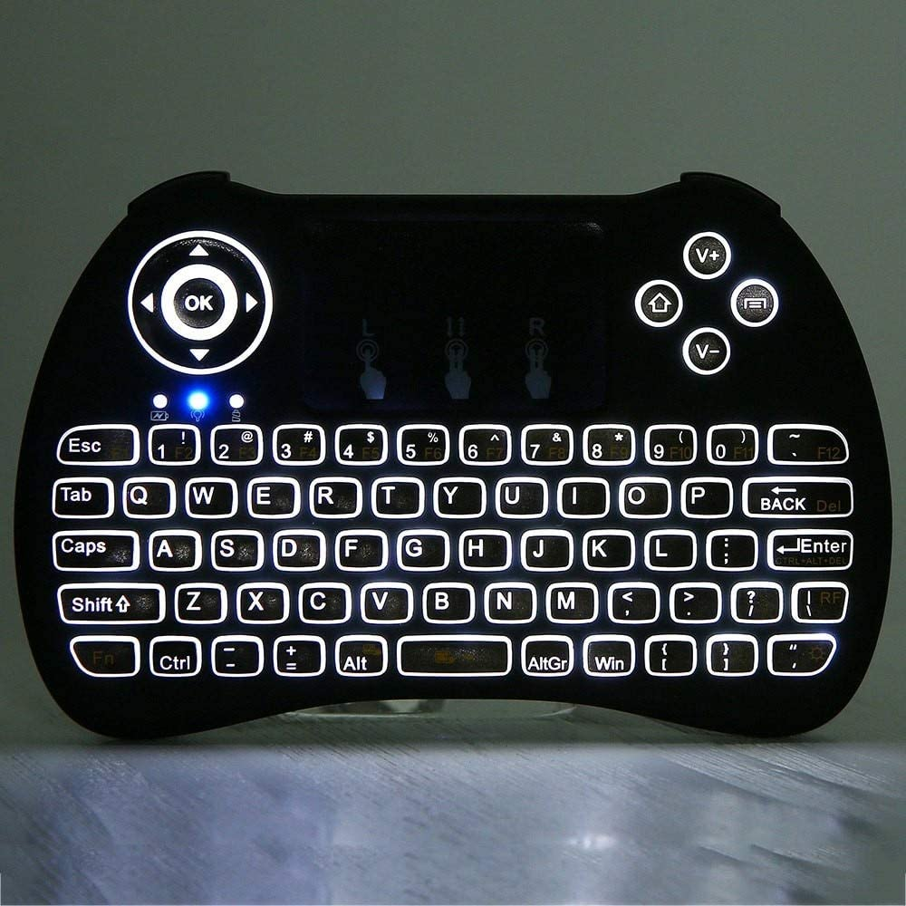 Color: H9 Backlit Keyboard Calvas H9 2.4G English Version Mini USB Wireless Qwerty Keyboard Touchpad Air Mouse Fly Remote Control for TV Box Table Mini PC Combo