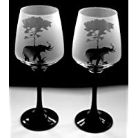 Elephant under tree gift black stem wine glasses Boxed