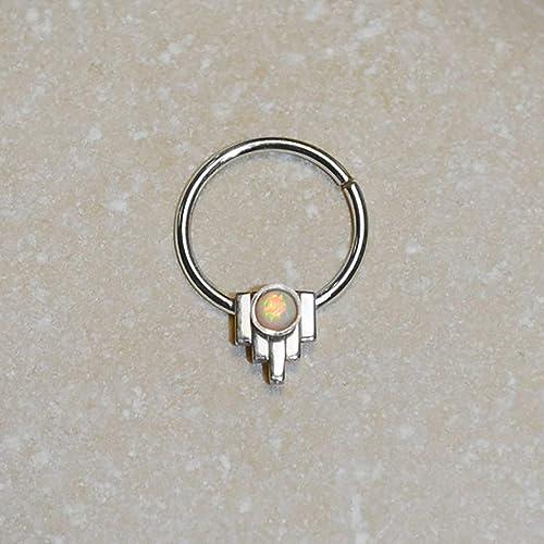 Daith jewelry Nipple piercing Septum jewelry Nipple jewelry ring Opal Septum Ring Daith earring 16 gauge Daith hoop