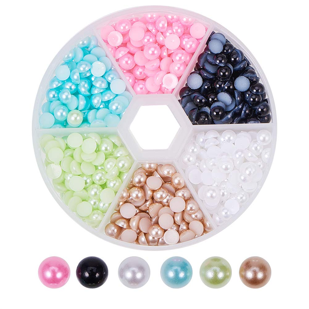 PandaHall 1Box 4-12mm About 690pcs Half Round Domed Imitation Pearl ABS Acrylic Beads Flat Back Pearl Cabochons for Craft DIY Gift Making Beige