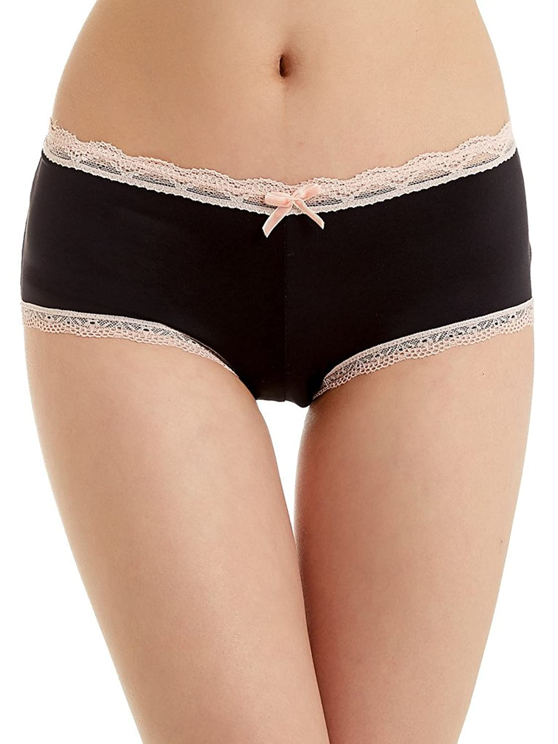 Attraco Women's High Rise Briefs Panties with Lace Trim Knickers Black