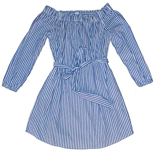 GAP Womens Blue White Stripe Off-Shoulder Belted Dress XL