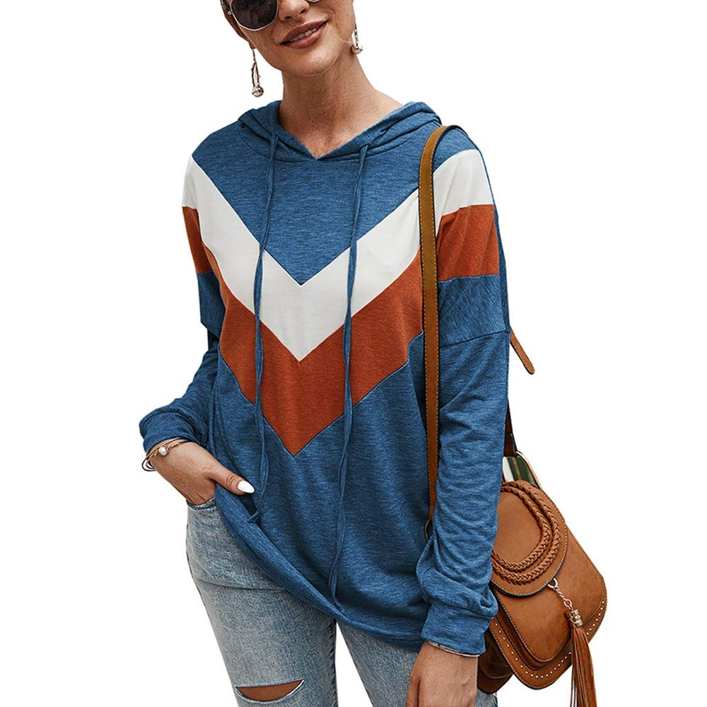 Women's Casual Hoodies Sweatshirt,Long Sleeve Color Block Lightweight Drawstring Basic Pullover Tops Tshirt Blue by KINGLEN Women Sweatshirt