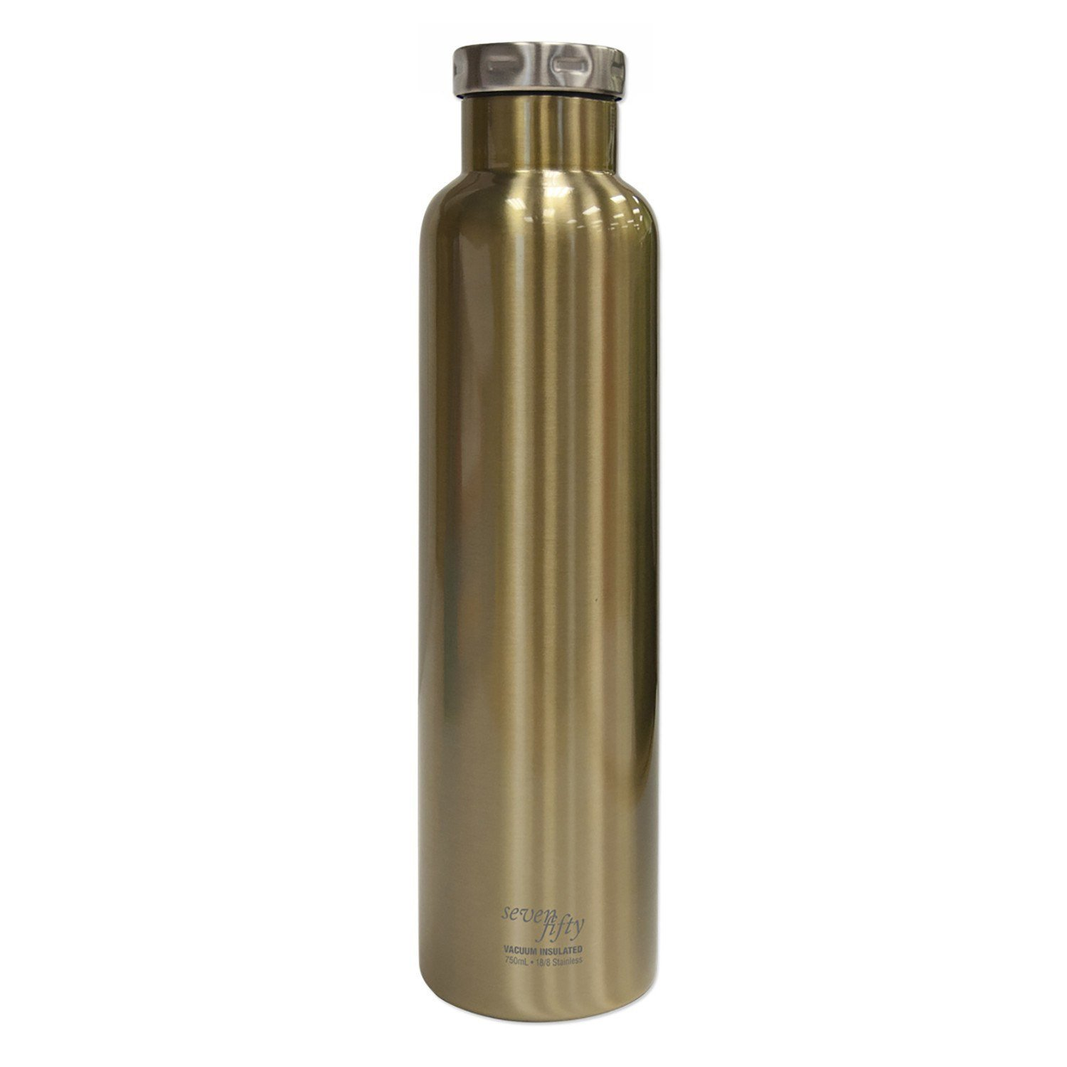 Fifty/Fifty Seven Fifty Double Wall Vacuum Insulated Wine Growler, 18/8 Stainless Steel, 750ml, Champagne Gold