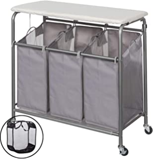 51c0f7de521 STORAGE MANIAC Laundry Sorter with Ironing Board 3-Section Heavy-Duty  Rolling Laundry Cart