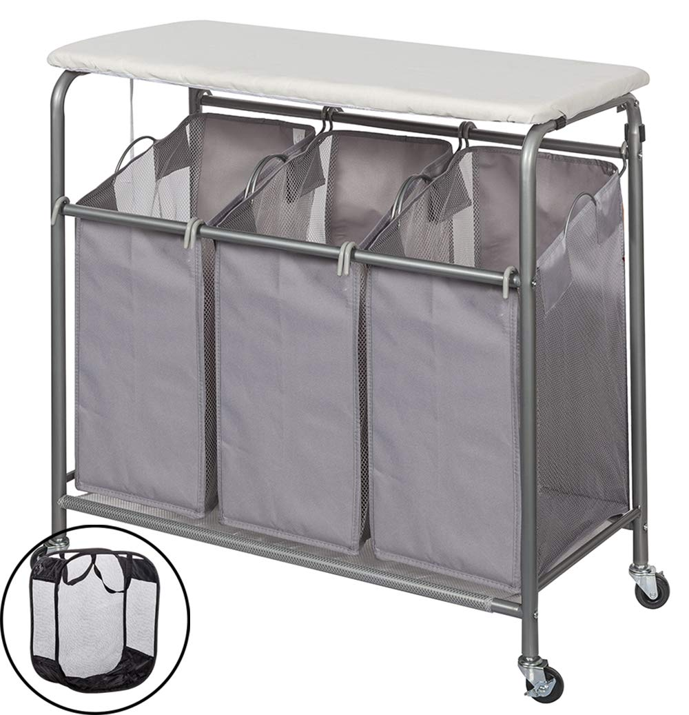 STORAGE MANIAC Laundry Sorter with Ironing Board 3-Section Heavy-Duty Rolling Laundry Cart with Free Laundry Hamper, Grey STM1005000024
