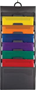 Samsill Cascading Wall File Organizer, Classroom Organization and Storage, 6 Removable Poly Hanging File Folders, Command Center Wall Organizer, Gray with Assorted Color Folders