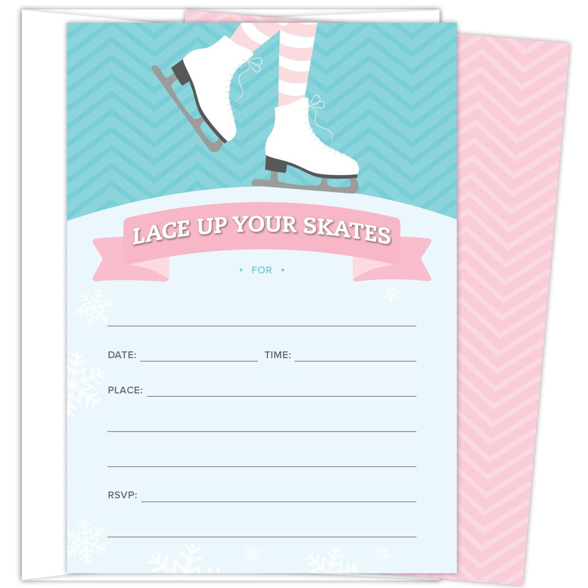Ice Skating Invitations for Birthday Parties and Other Occasions. Set of 25 Fill In Style Invitations with Envelopes. Pink, Turquoise and Light Blue design with Skates, Snowflakes and Chevron Stripes. by Koko Paper Co