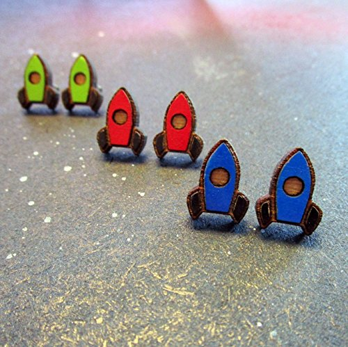 Little Rocket Ship Stud Earrings, You pick Color, Nickel Free Studs
