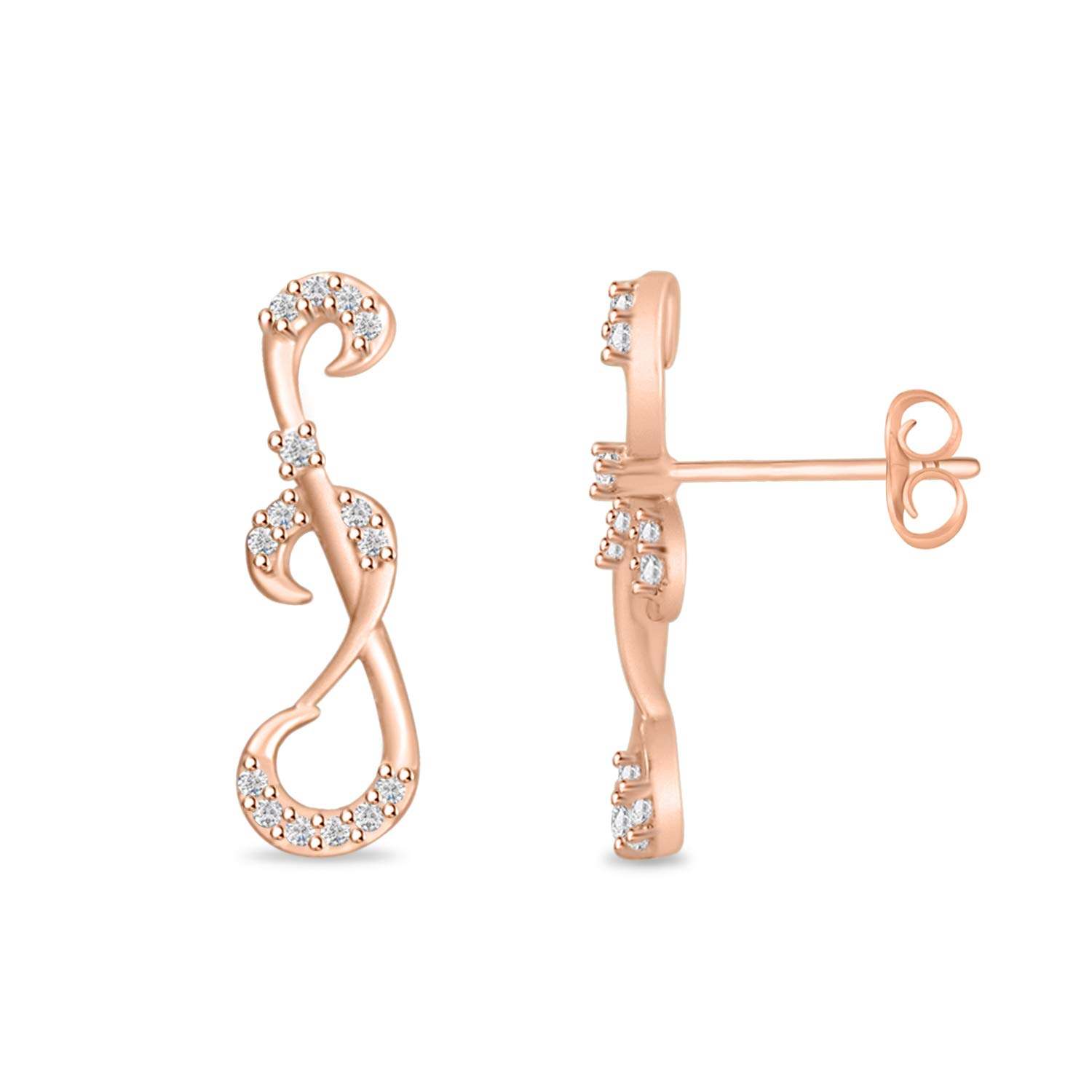 Round Cubic Zirconia Infinity Knot Filigree Fancy Trendy Stud Earrings for Women Girls Teens 14k Gold Plated