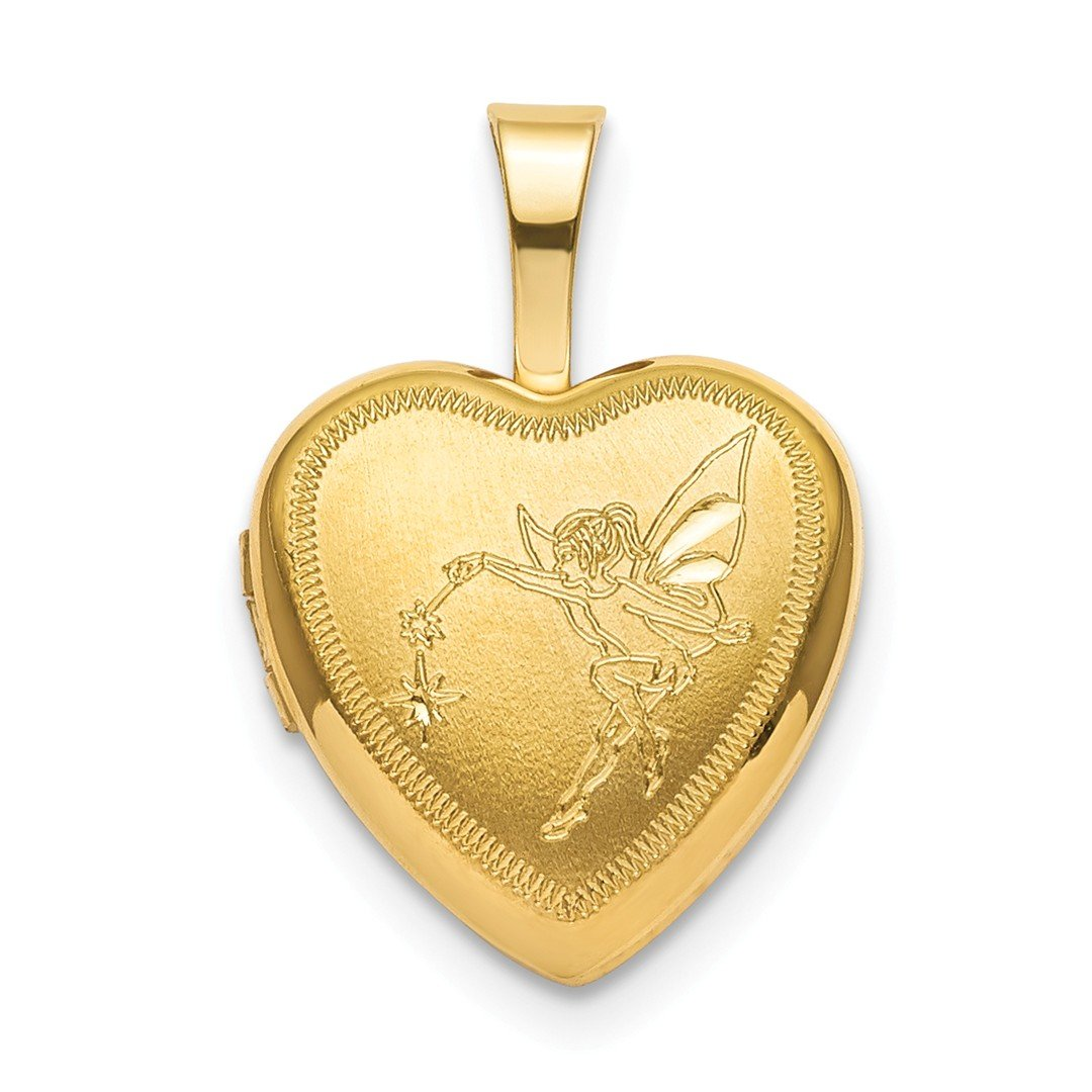 ICE CARATS 925 Sterling Silver Gold Plated 12mm Fairy Heart Photo Pendant Charm Locket Chain Necklace That Holds Pictures Fine Jewelry Ideal Gifts for Women Gift Set from Heart