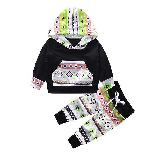 fb2ec7d7f Amazon.com: 2018 Christmas 2pcs Toddler Baby Boys Girls Hoodie Sweatshirt  Cute Print Tops Pocket Pants Outfits Set 24Months: Clothing