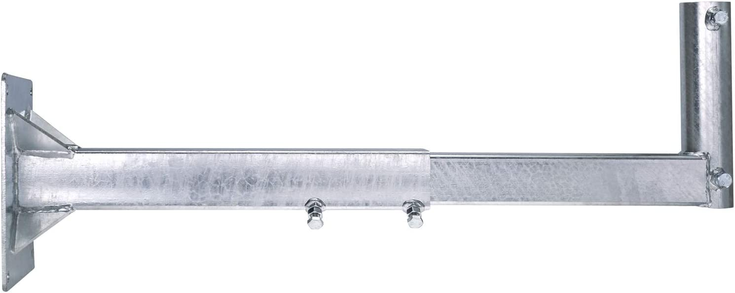 DUR-line WHSF 85 XL - Soporte de pared extensible para antena parabólica (de 53 a 85 cm, galvanizado en caliente)
